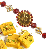 Send Rakhi Online To India Abroad Within USA Shipping America Diamond Swastik Rakhi With Kajoo Rolls