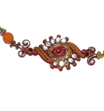 Glittering Reddish Golden Rakhi